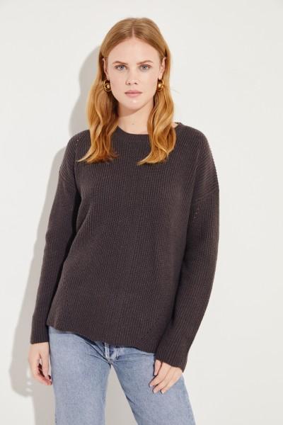 Woll-Cashmere-Pullover mit Lochmuster Dunkelbraun