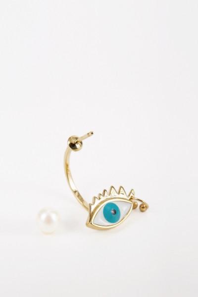Delfina Delettrez Ohrring 'Eye Piercing' Gold/Türkis