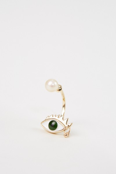 Ohrring 'Eye Piercing' Gold/Grün