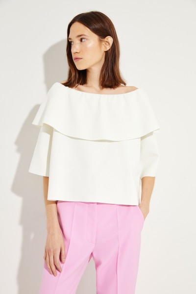 Off-Shoulder Blouse with Volant Cream White