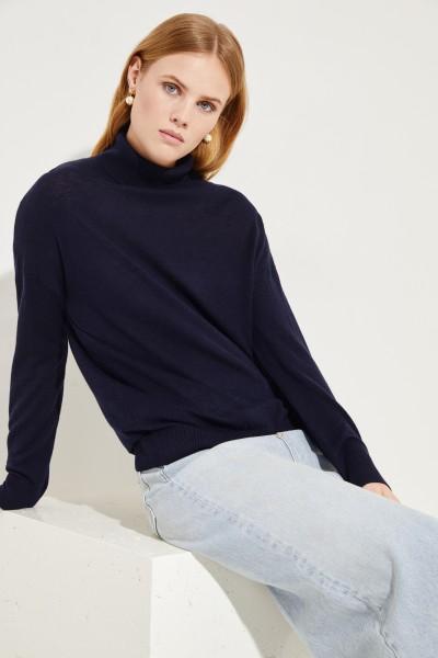 Seiden-Cashmere-Rollkragenpullover Marineblau