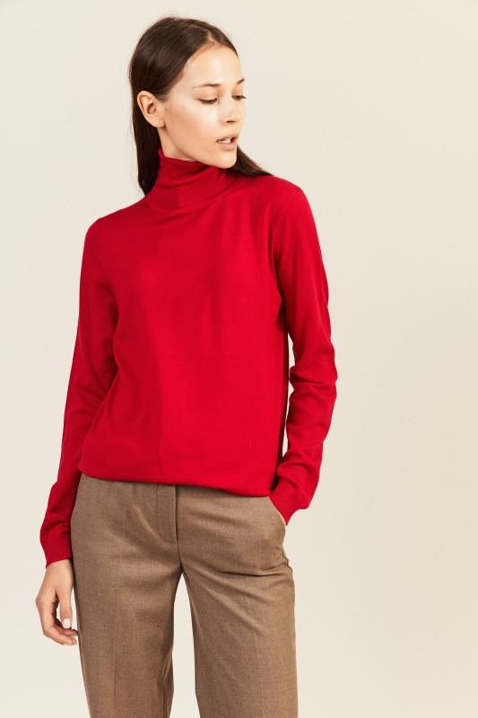 Woll-Rollkragenpullover Rot