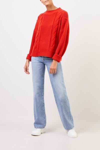 Uzwei Woll-Cashmere-Pullover mit Zopfmuster Orange