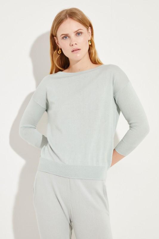 Seiden-Cashmere-Pullover Salbei