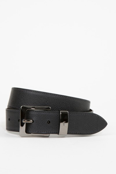 Gräfin v. Lehndorff Leather belt made of Verlours leather and leather Dark Brown/Black