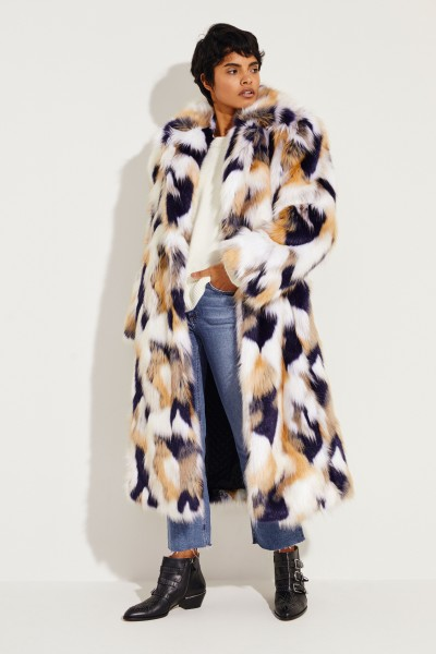 Fakefur Oversized-Mantel Multi