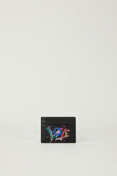 Kartenetui 'M Kios Love' mit Schriftzug Schwarz