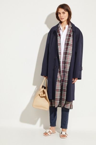 Balenciaga Trenchcoat with checked lining Navy Blue/Multi