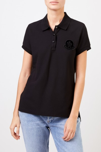 Moncler Baumwoll-Polo-Shirt Schwarz