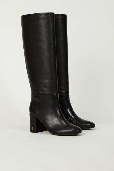 Klassische Leder-Stiefel Schwarz