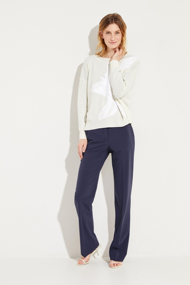 Cashmere-Pullover mit floraler Applikation Crème