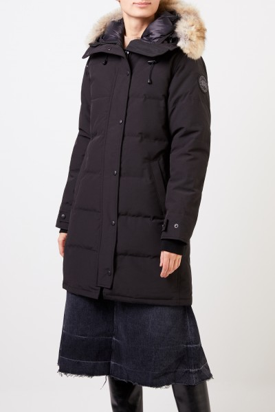 Canada Goose Down parka 'Shelburne' with hood and fur collar Black