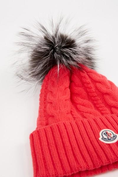 Moncler Woll-Cashmere-Mütze mit Zopfmuster Pink