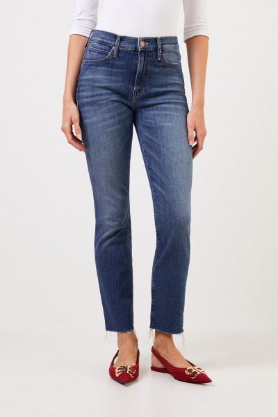 Mother Denim Jeans 'The Rascal Ankle' mit offenen Saumkanten Blau