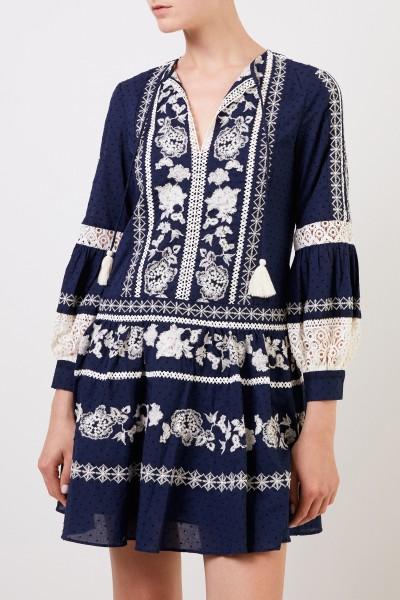 Tory Burch Baumwoll-Kleid mit Stickerei Blau/Crème