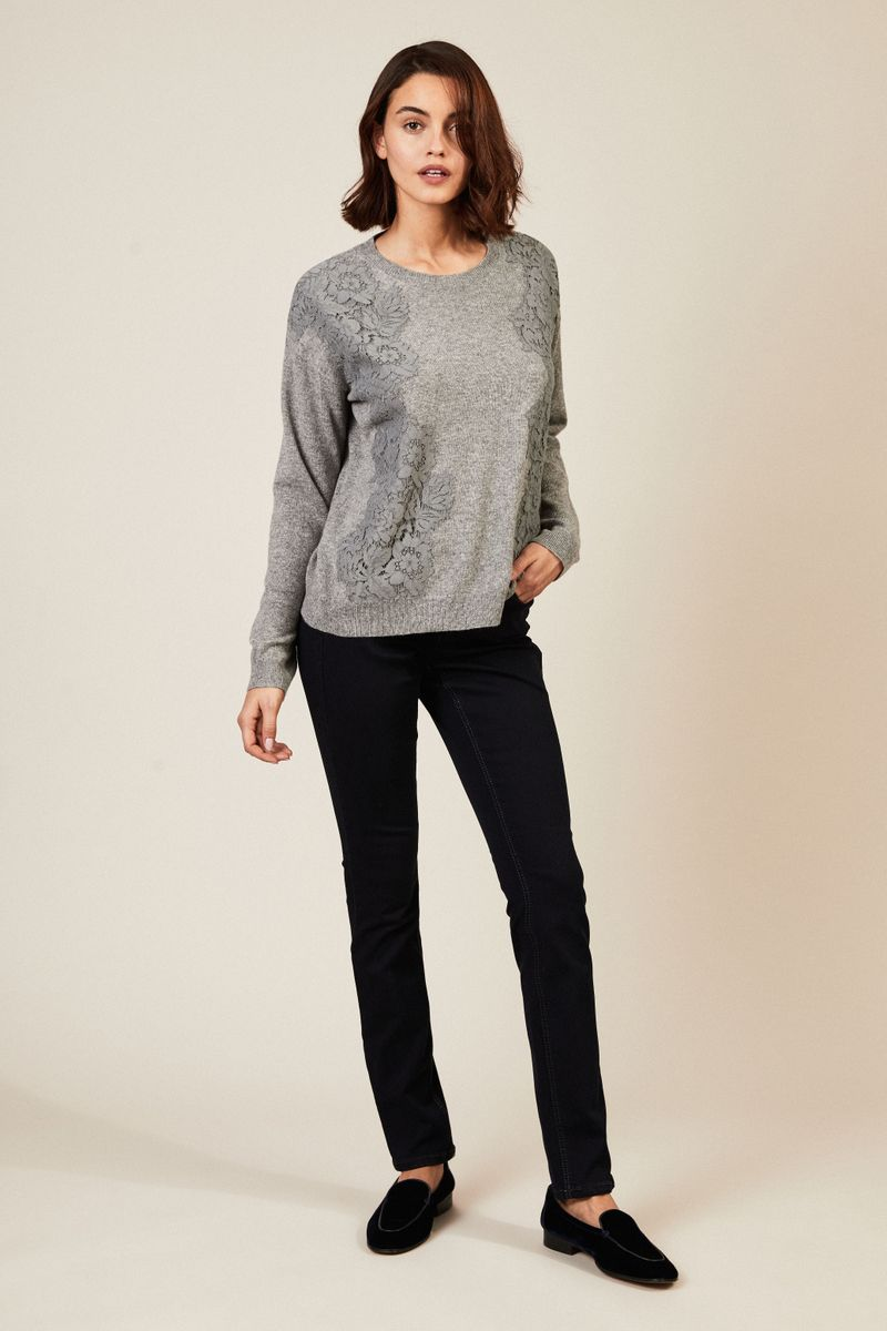 Cashmere-Pullover mit Spitzenbesatz Grau