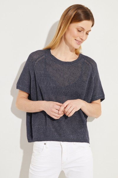 Leinen-Pullover 'Senta' Marineblau