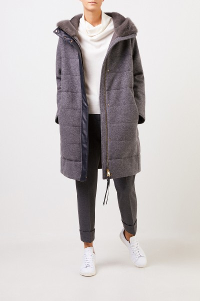 Agnona Cashmere Hooded Coat Dark Grey