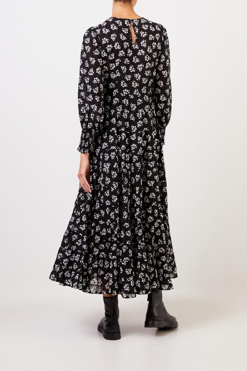Rixo Langes Kleid 'Pip' mit floralem Print Schwarz/Weiß
