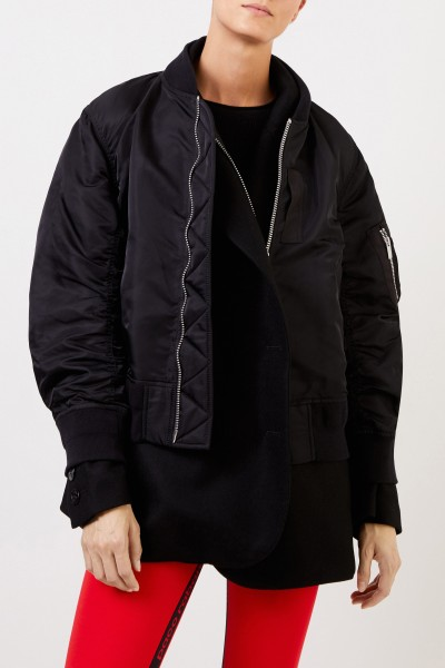 Sacai Coat with integrated bomber jacket Black