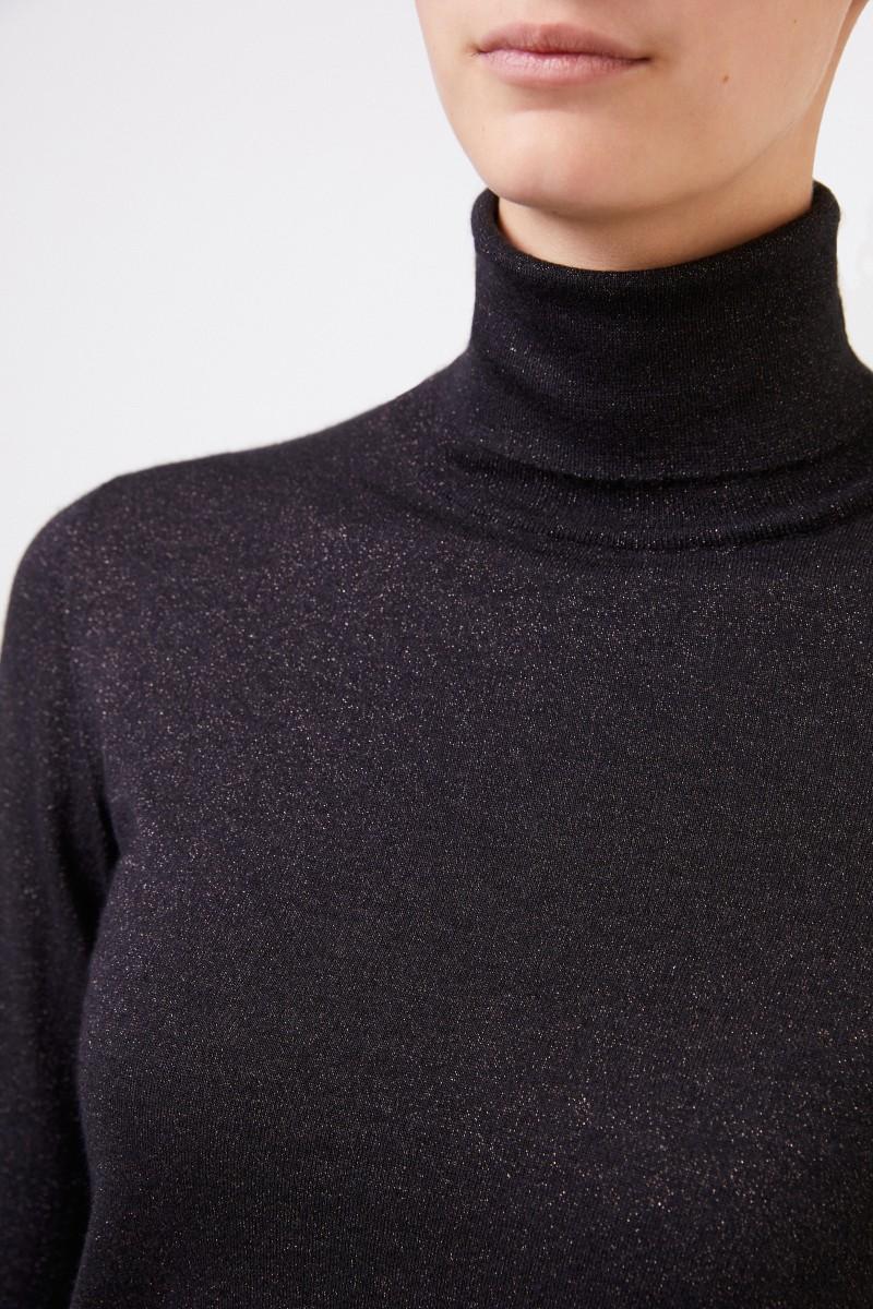Brunello Cucinelli Cashmere-Seiden-Pullover mit Lurexdetails Schwarz