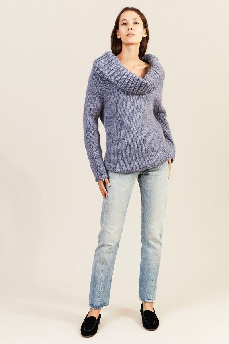 Mohair-Woll-Pullover mit breitem Kragen Taubenblau