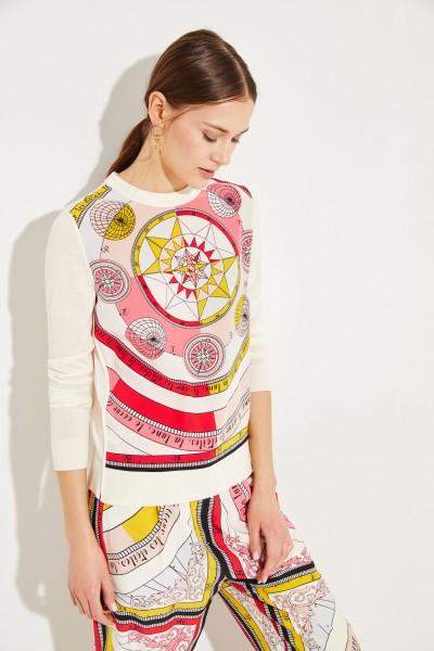 Woll-Seiden-Pullover mit Print Créme/Multi