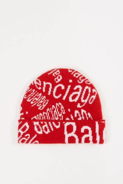 Wollmütze mit Logo-Details Weiß/Rot