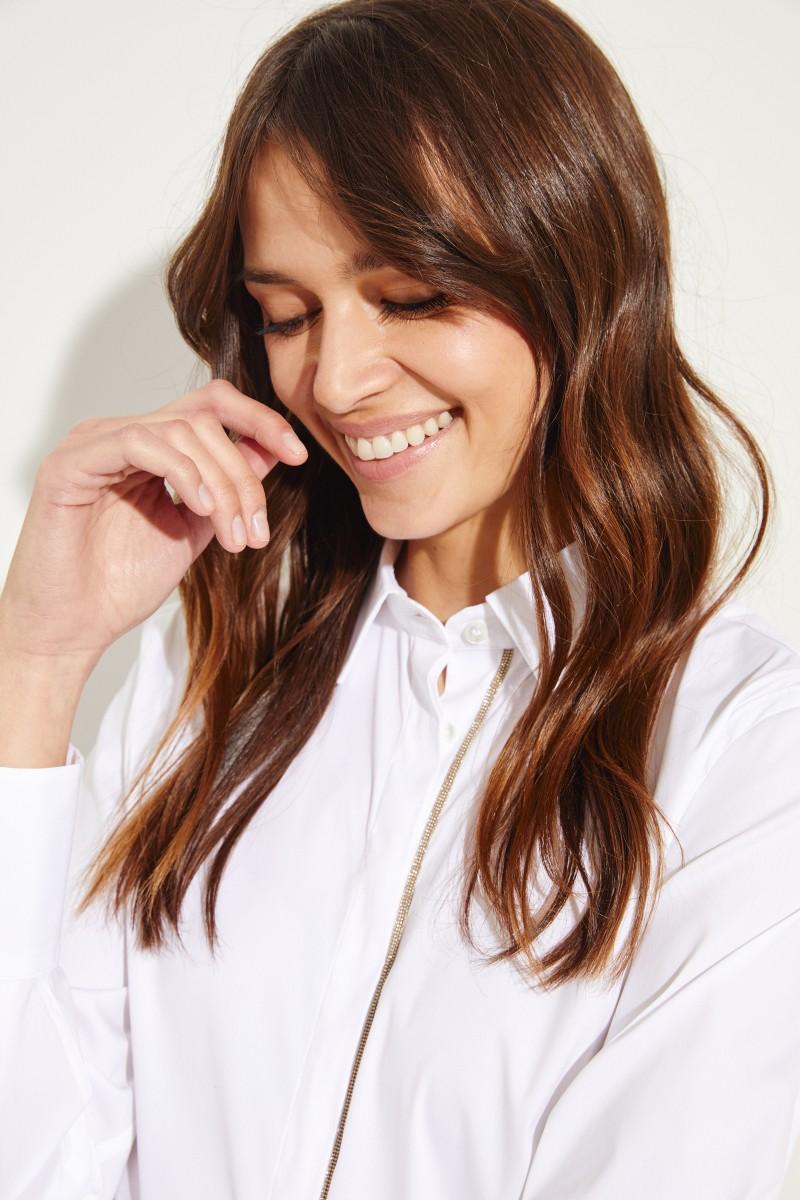 Brunello Cucinelli Klassische Bluse mit Perlenverzierung Weiß