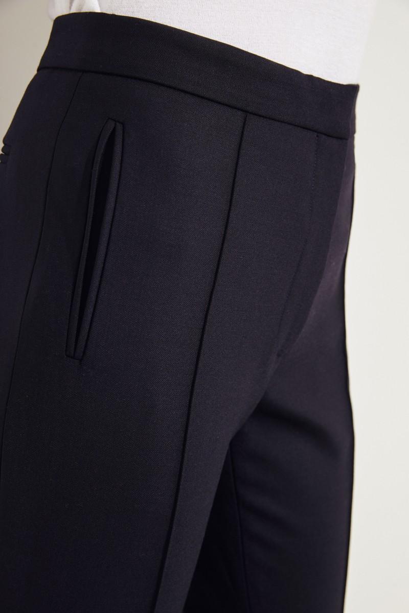 Woll-Hose mit breiten Saumumschlägen Marineblau