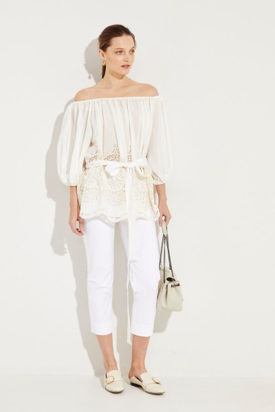 Stella McCartney Silk blouse with hole lace Crème