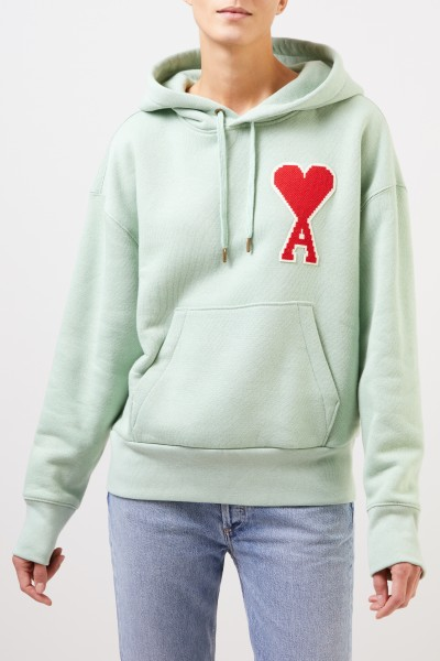 Ami Hoodie with logo Pale Green