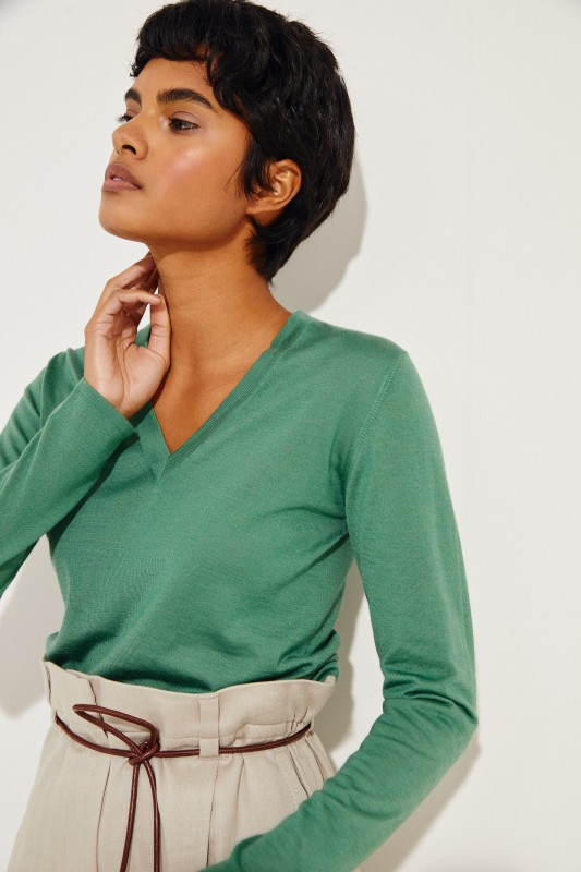 Cashmere-Seiden Shirt Grün