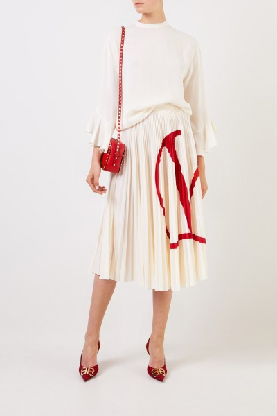 Valentino Midi pleated skirt with crème/red logo