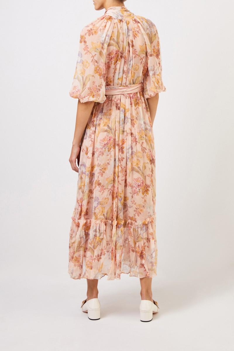 Langes zweiteiliges Seidenkleid mit floralem Print Multi