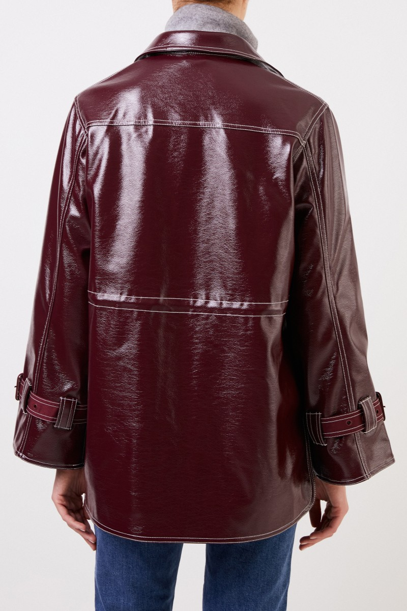 Jacke in Lack-Optik Bordeaux