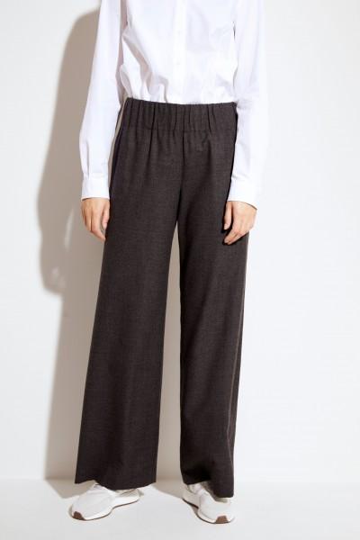 Woll-Hose mit weitem Bein Grau
