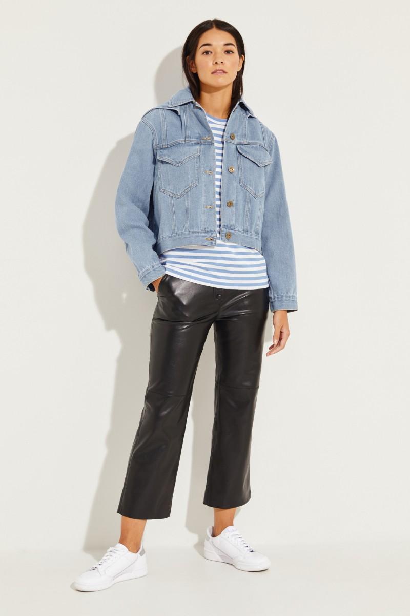 Jeansjacke 'Mijave' mit Kapuze Blau