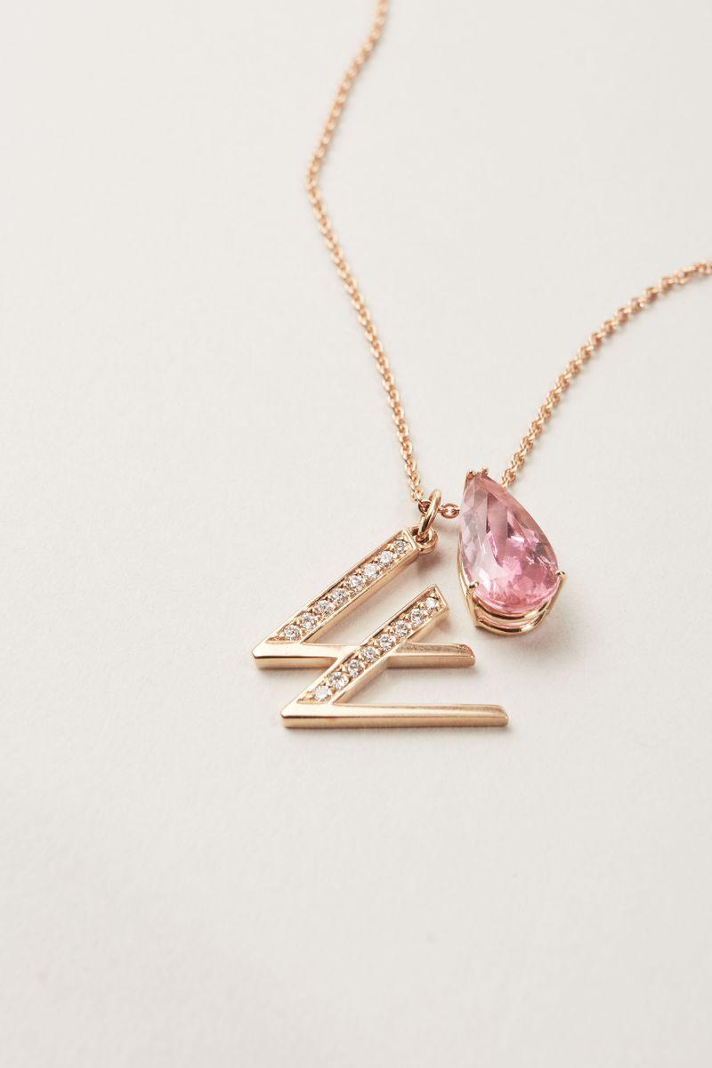 Buchstaben-Anhänger 'Letter W' mit Diamanten 18 Karat Roségold