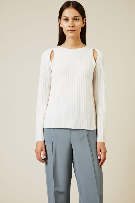 Rippstrick-Cashmere-Pullover Weiß