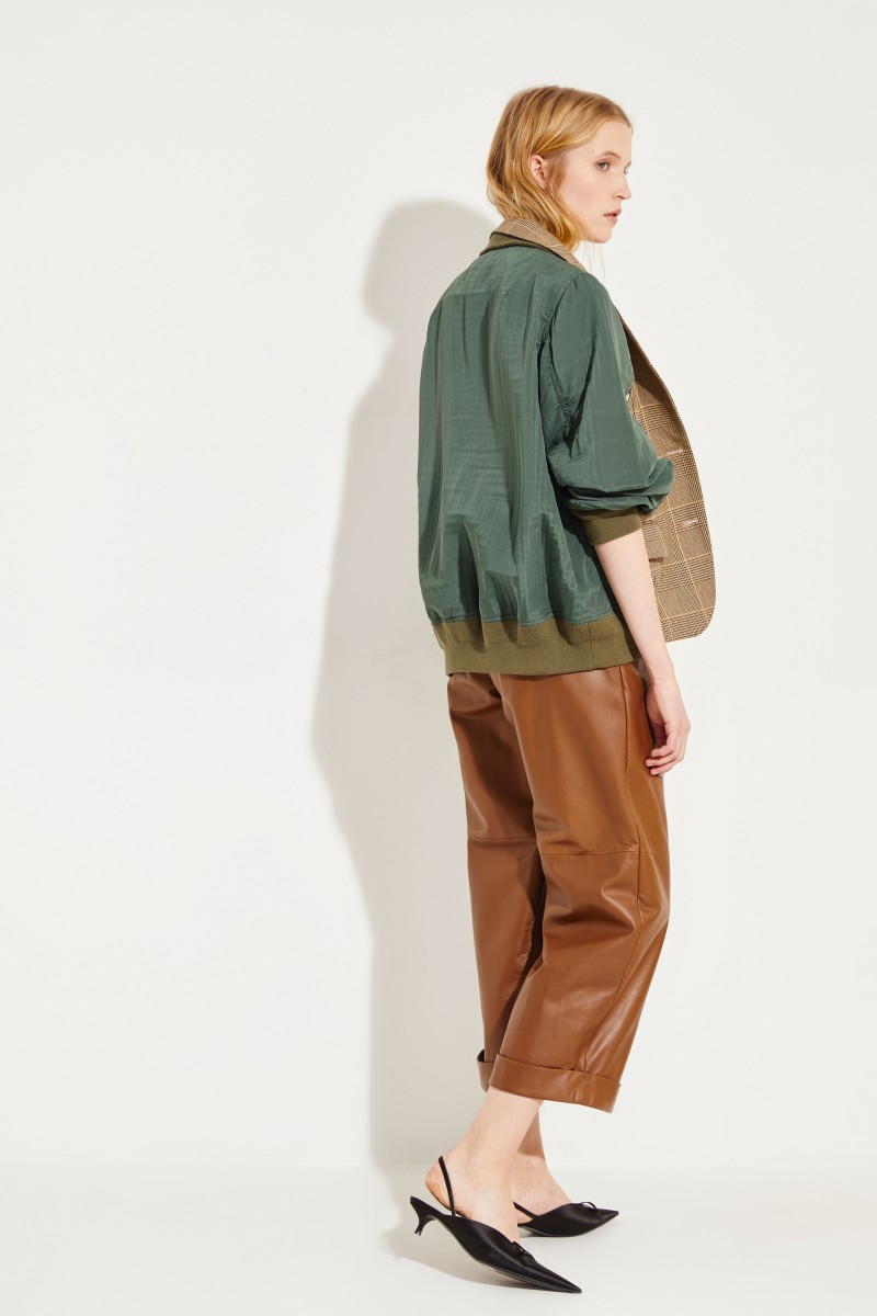 Baumwoll-Jacke mit Glencheck Beige/Oliv