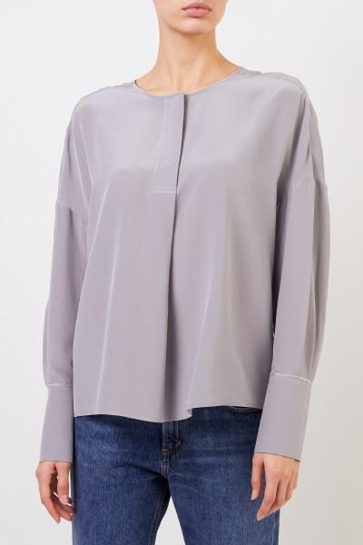 Iris von Arnim Silk blouse 'Milenia' with wide cuffs Grey