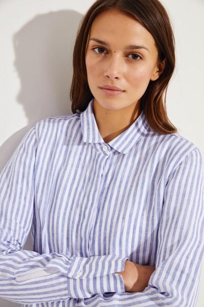Gestreifte Leinen-Bluse Blau/Weiß