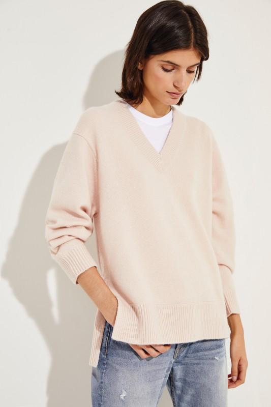 Oversize Cashmere-Pullover Rosé