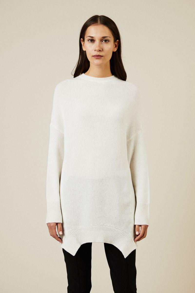 Oversize Cashmere Pullover Crèmeweiß