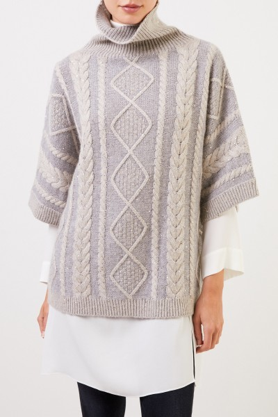 Fabiana Filippi Cashmere wool pullover with sequins Grey