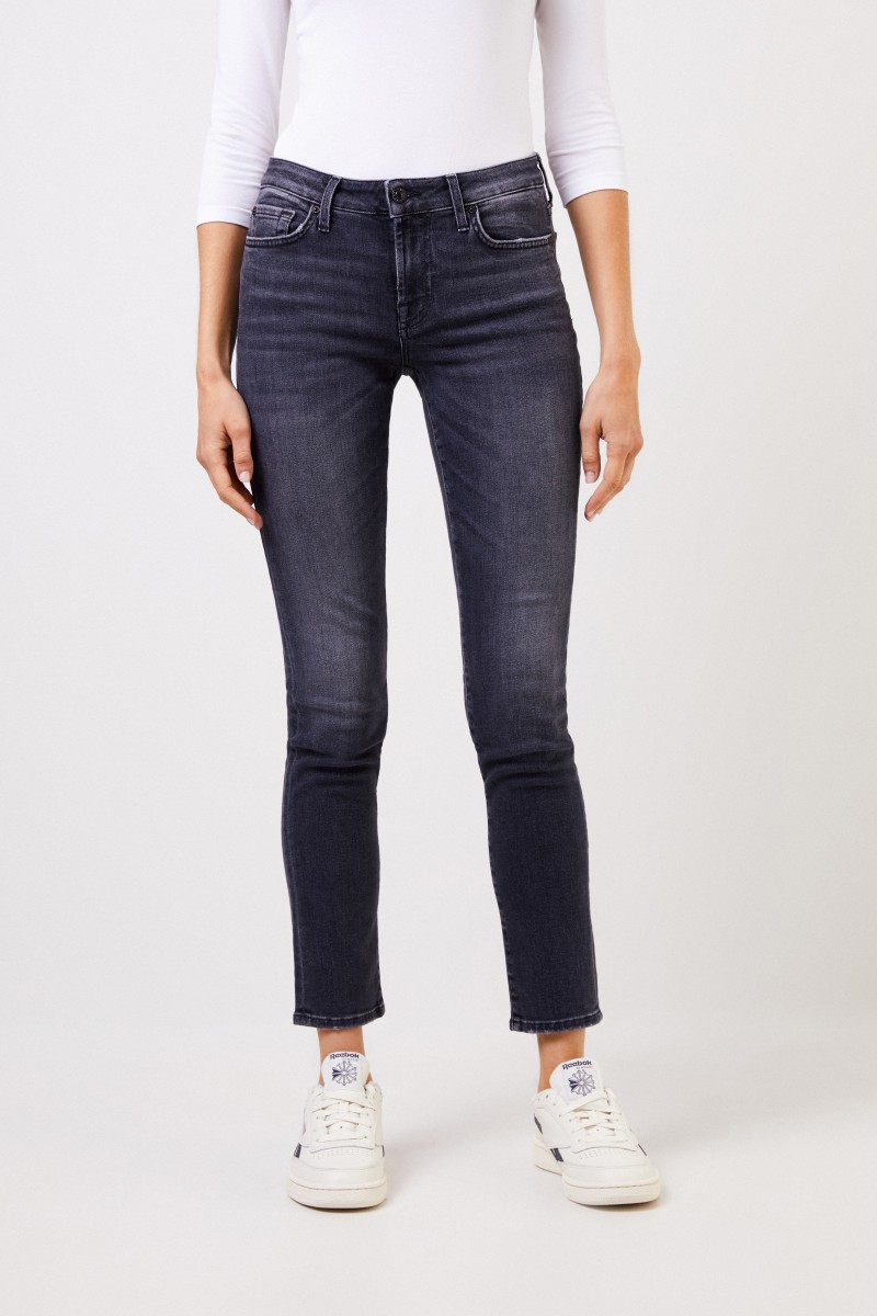 Skinny-Jeans 'Pyper Cropped' Grau