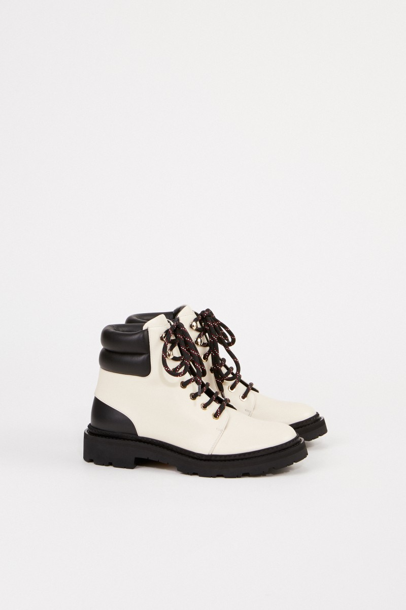 Bally Ankle Lace-up Boots 'Ganya' Schwarz/Creme