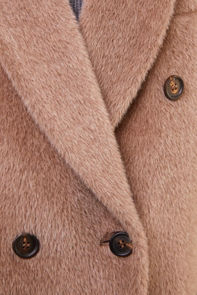 Brunello Cucinelli Alpaca-Woll-Mantel Hellbraun