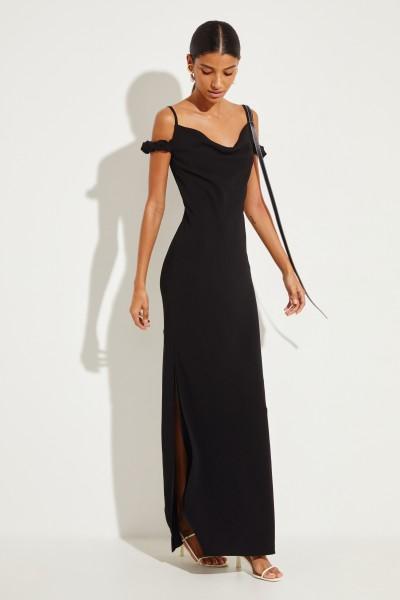 Langes Kleid mit frontalem Detail Schwarz